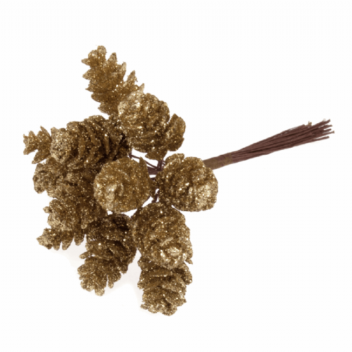 Pinecones Glitter 12 x 12 Stems Gold